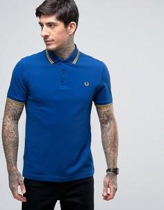Узкая синяя футболка-поло из пике с двойным кантом Fred Perry - Синий