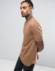 Длинная коричневая футболка с окантовкой по краю ASOS - Коричневый
