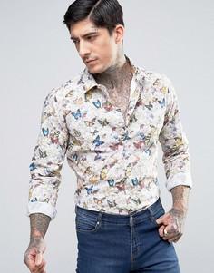 Узкая рубашка с бабочками Devils Advocate - Кремовый