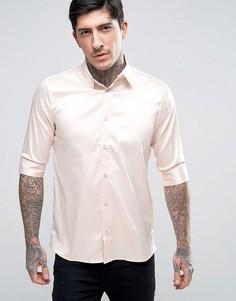 Атласная рубашка скинни Rogues Of London - Розовый