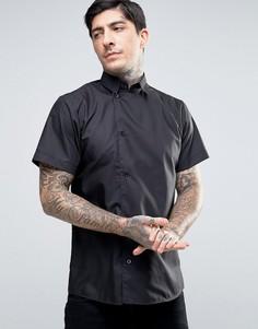 Рубашка скинни с короткими рукавами и смещенной от центра планкой на пуговицах Rogues of London - Черный