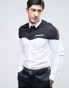 Приталенная ковбойская рубашка со вставкой Rogues Of London - Белый