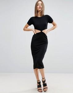 Облегающее платье миди с вырезом и перекрученным лифом ASOS - Черный
