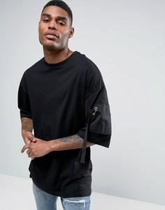 Oversize-футболка с рукавами до локтя и карманом из саржи ASOS - Черный
