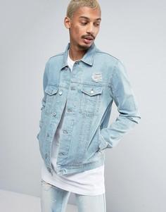 Светлая джинсовая куртка с потертостями Antioch - Синий