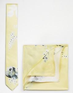 Шелковые галстук и платок для нагрудного кармана с цветочным принтом ASOS WEDDING - Желтый