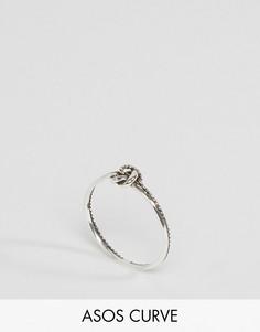 Серебряное кольцо с узелком ASOS CURVE - Серебряный