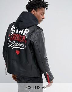 Черная кожаная байкерская куртка Reclaimed Vintage Inspired X Romeo & Juliet - Черный