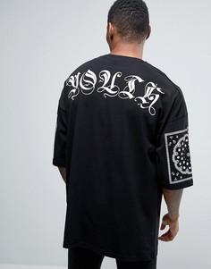 Oversize-футболка с надписью Youth и платочным принтом ASOS - Черный