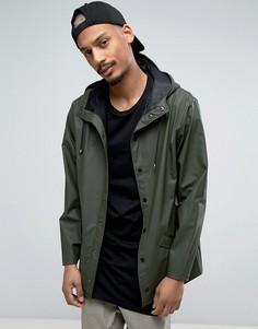 Зеленая водооталкивающая куртка с капюшоном Rains - Зеленый