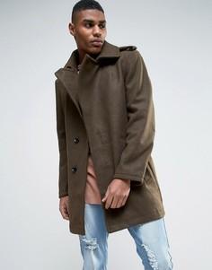 Пальто на поясе с добавлением шерсти Criminal Damage - Зеленый