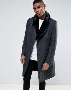 Пальто с меховым воротником Criminal Damage - Серый