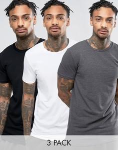 3 удлиненных футболки (белая/черная/темно-серая) ASOS - СКИДКА - Мульти