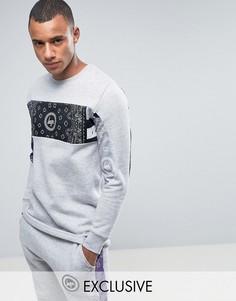 Серый свитшот с платочным принтом на вставках Hype - Серый