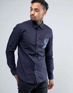 Узкая темно-синяя рубашка с вышивкой на кармане Versace - Темно-синий