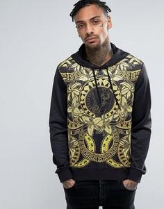 Худи с цветочным принтом Versace - Черный