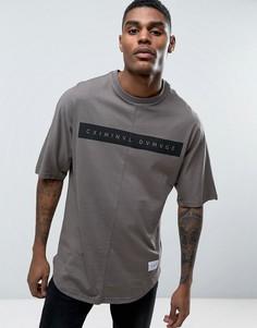 Свободная футболка с закругленным низом Criminal Damage - Серый