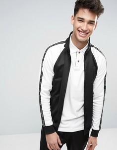 Черная спортивная куртка классического кроя на молнии с отделкой лентой на рукавах Hollister - Черный