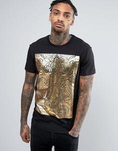 Черная футболка с принтом металлик Versace - Черный