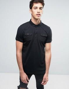 Футболка-поло с карманами на груди Brave Soul - Черный