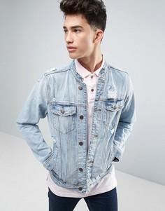 Светлая джинсовая куртка с воротом на пуговице Hollister - Синий