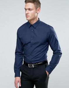 Темно-синяя рубашка классического кроя из поплина New Look - Темно-синий