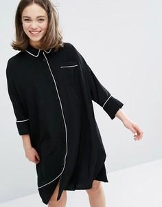 Платье-рубашка в пижамном стиле с контрастной окантовкой Monki - Черный