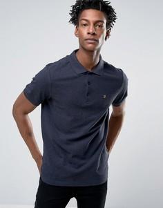 Темно-синяя меланжевая футболка-поло слим из пике Farah Blaney - Темно-синий