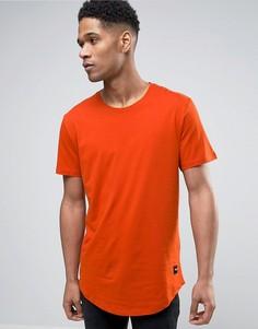 Длинная футболка с закругленным низом Only & Sons - Оранжевый