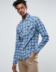 Приталенная саржевая рубашка в клетку в стиле вестерн Lee - Синий