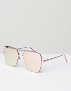 Квадратные авиаторы с зеркальными розовыми стеклами Quay Australia Stop and Stare - Розовый