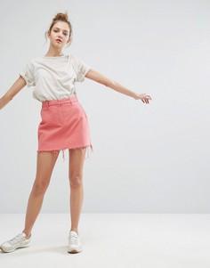 Юбка с необработанным краем Weekday - Розовый