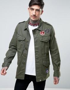 Куртка цвета хаки с нашивками и логотипом Pretty Green Jayton M65 - Зеленый