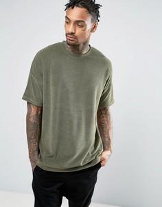 Махровая oversize-футболка цвета хаки ASOS - Зеленый