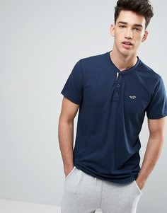 Темно-синяя узкая футболка хенли с логотипом-чайкой Hollister - Темно-синий