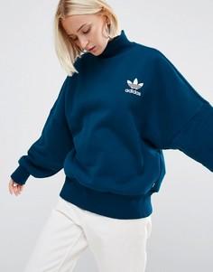 Свитшот с высокой горловиной и логотипом‑трилистником adidas Originals - Синий