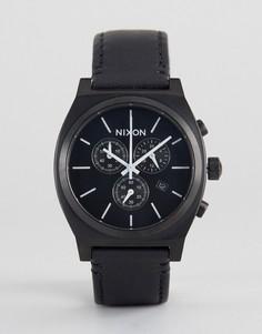 Черные часы с кожаным ремешком и хронографом Nixon Time Teller - Черный