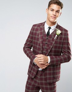 Пиджак скинни в клетку ASOS WEDDING - Красный