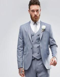 Серый фактурный пиджак скинни ASOS WEDDING - Серый