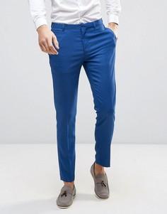 Синие фактурные зауженные брюки ASOS WEDDING - Синий