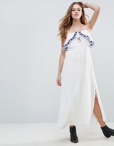 Платье макси с оборкой на груди Raga Santorini - Белый