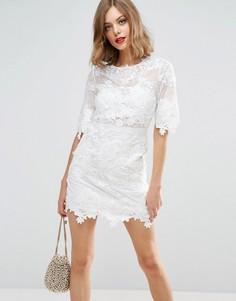 Кружевное цельнокройное платье мини с вышивкой ASOS BRIDAL - Белый