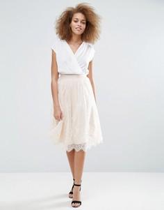 Кружевная юбка с фигурной отделкой по краю Little Mistress - Бежевый