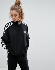 Черный свитшот с высоким воротом и тремя полосками adidas Originals - Черный