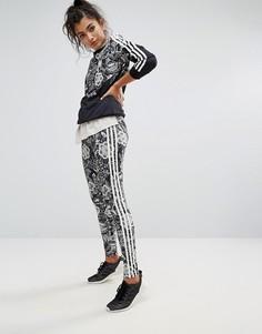 Леггинсы с ярким цветочным принтом adidas Farm - Мульти