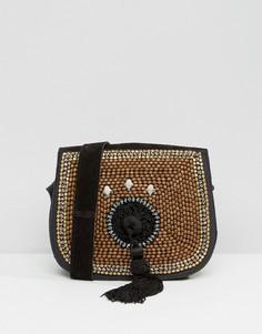 Замшевая сумка через плечо с отделкой и кисточками Park Lane - Коричневый