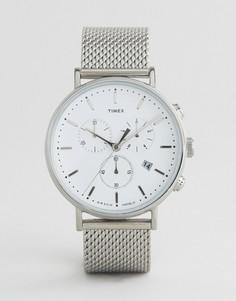 Серебристые часы с хронографом 41 мм и сетчатым ремешком Timex Fairfield - Серебряный