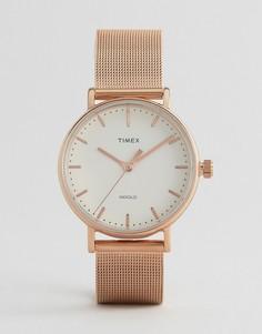 Часы с сетчатым ремешком Timex Fairfield 37 мм - Золотой