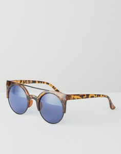 Круглые солнцезащитные очки в черепаховой оправе 7X - Коричневый