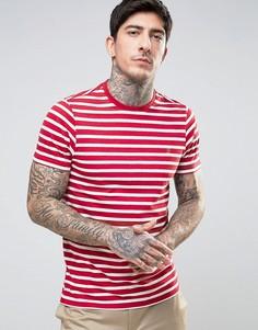 Красно-белая узкая футболка в бретонскую полоску Farah Lennox - Красный